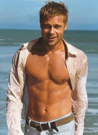 love him now and he's totally hot and totally shirtless Brad Pitt.